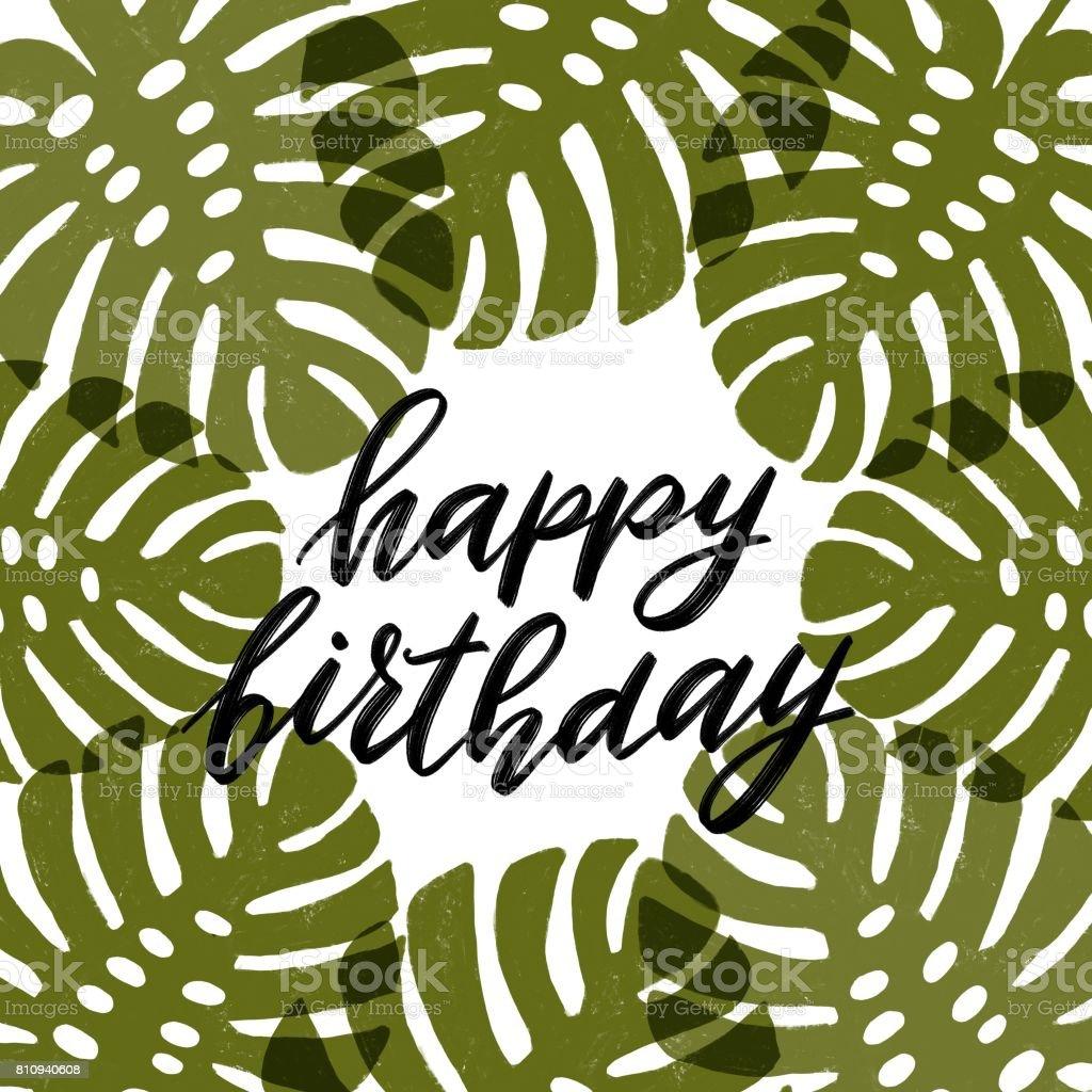 Gelukkige Verjaardag Kalligrafie In Frame Stockvectorkunst En Meer