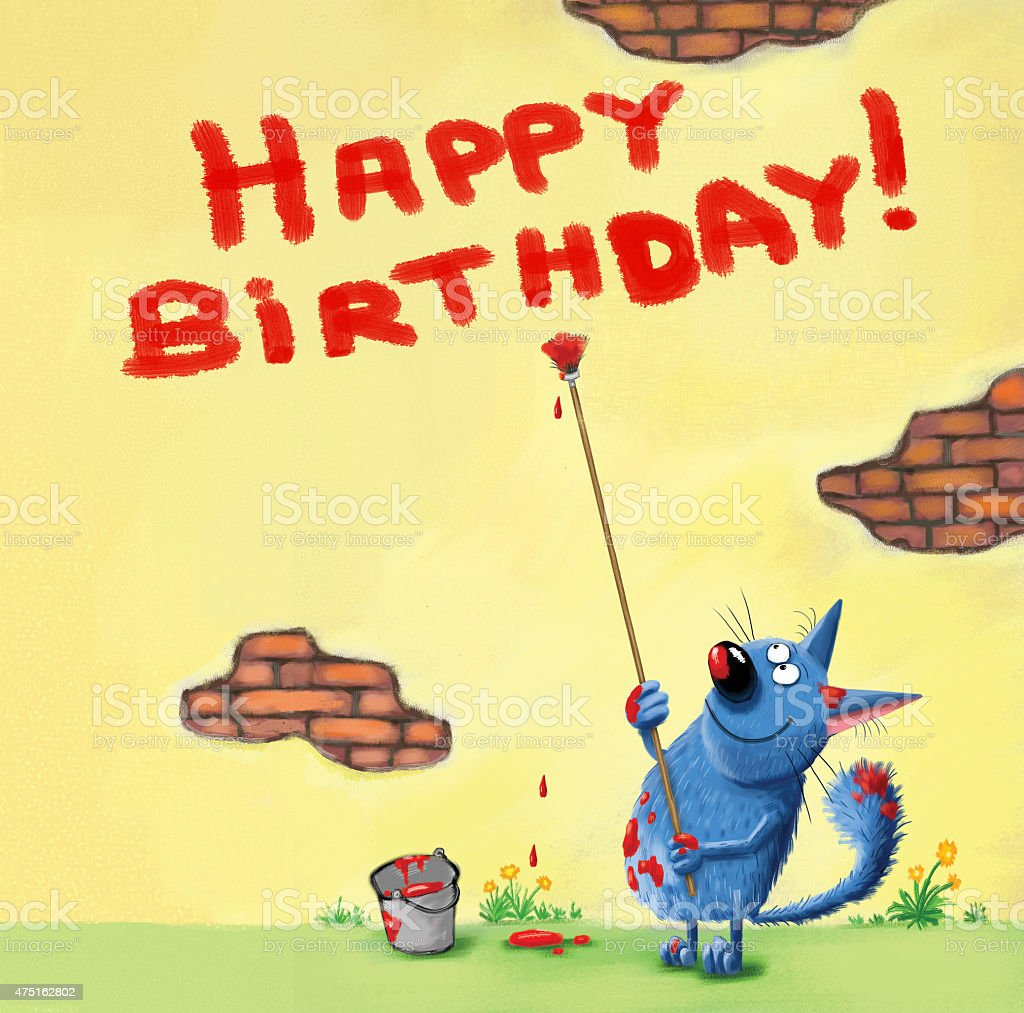 Happy Birthday Card Cat Writing On The Wall Stock Vector Art & More ...
