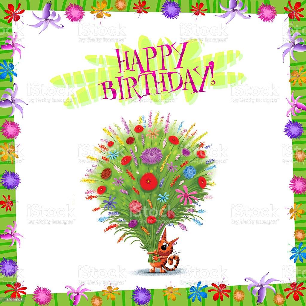 Happy birthday card kitten with bunch of wild flowers stock vector happy birthday card kitten with bunch of wild flowers royalty free happy birthday card kitten izmirmasajfo Image collections