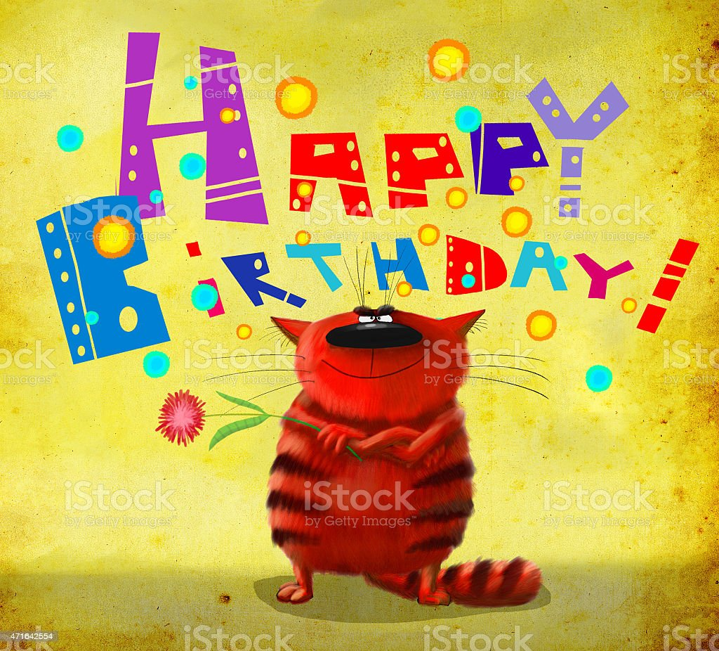 Happy Birthday Card Tough Cat With A Flower Stock Vector Art More