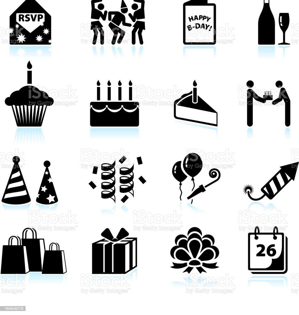 Happy Birthday Celebration Black And White Vector Icon Set