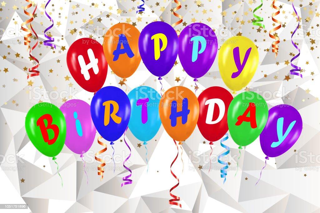 Banner Feliz Aniversario: Vetores De Feliz Aniversário Banner De Balões Coloridos E