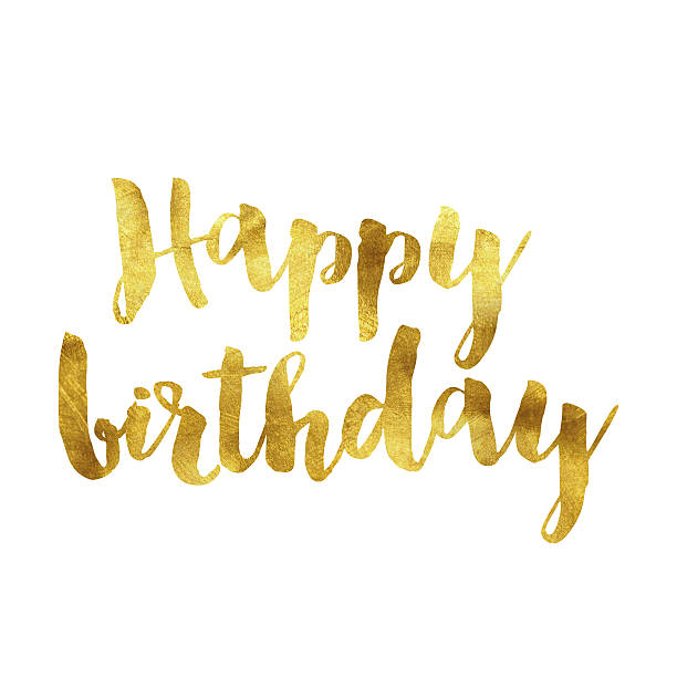 Happy birthday gold foil message vector art illustration