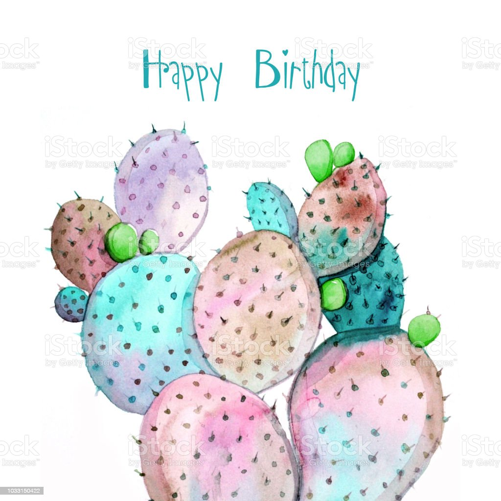 Happy Birthday Greeting Cards With Watercolor Cactus Stock Vector
