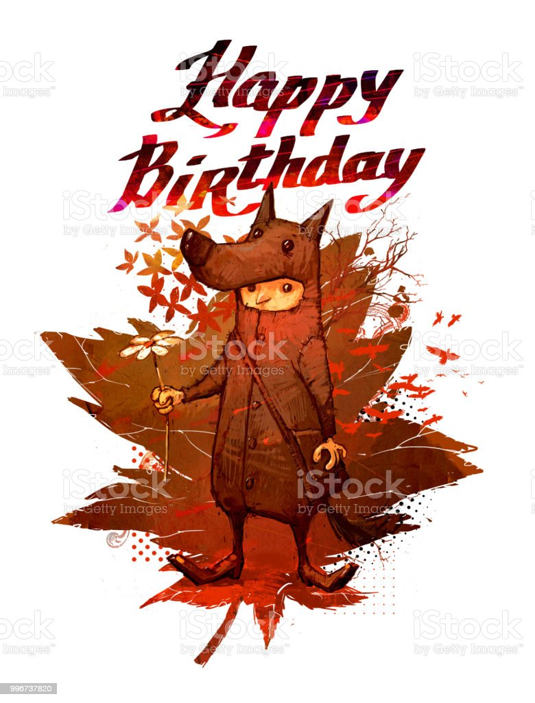 Happy Birthday Illustration On White Isolated Background Collage