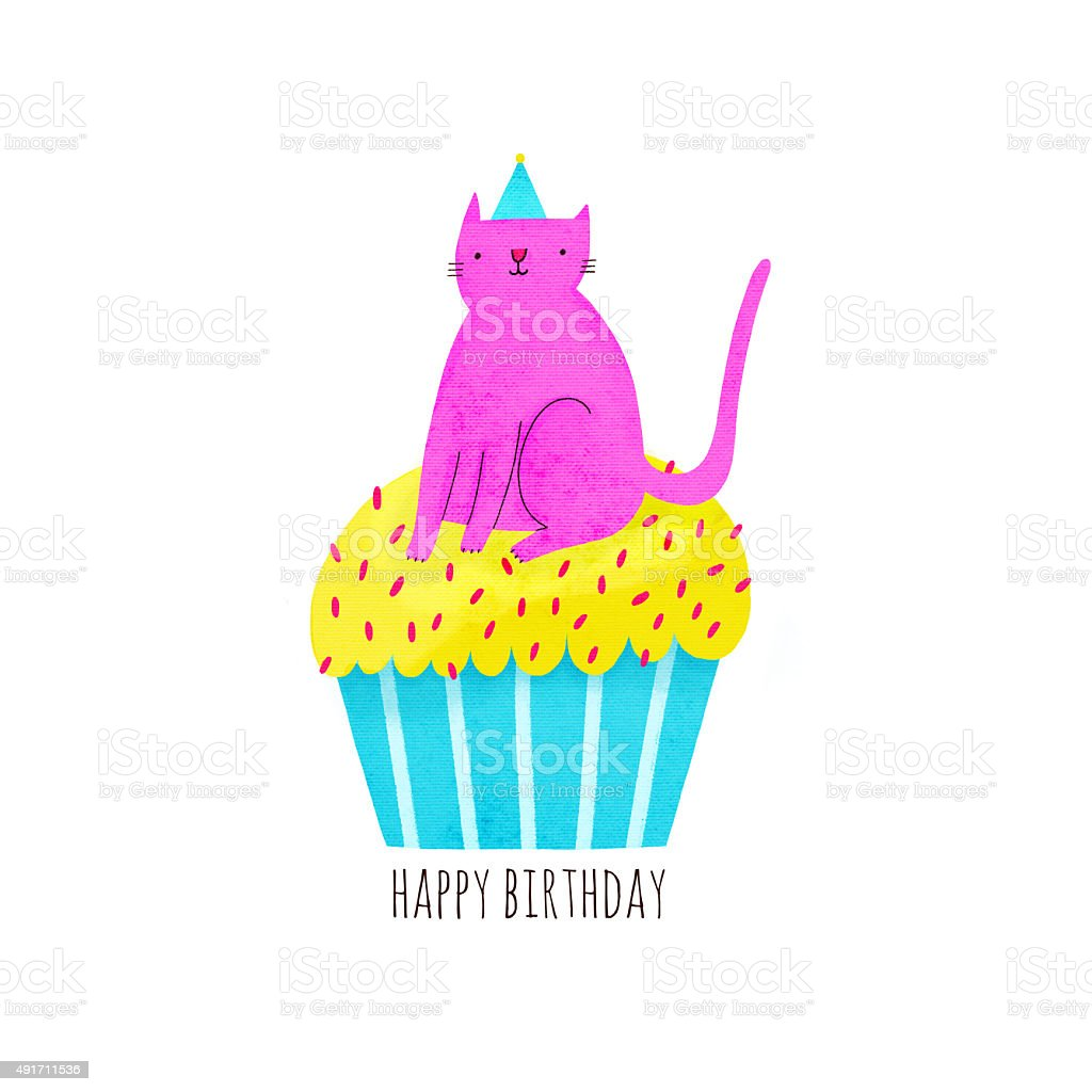 Happy Birthday Illustration With Cupcake And Cat In Funny Hat