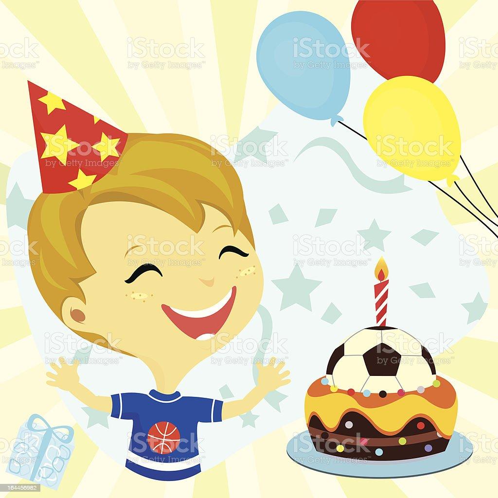 Happy Birthday Party Junge Kuchen Balloon Stock Vektor Art Und Mehr