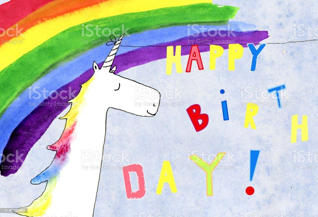 happy birthday with cute unicorn vector art illustration