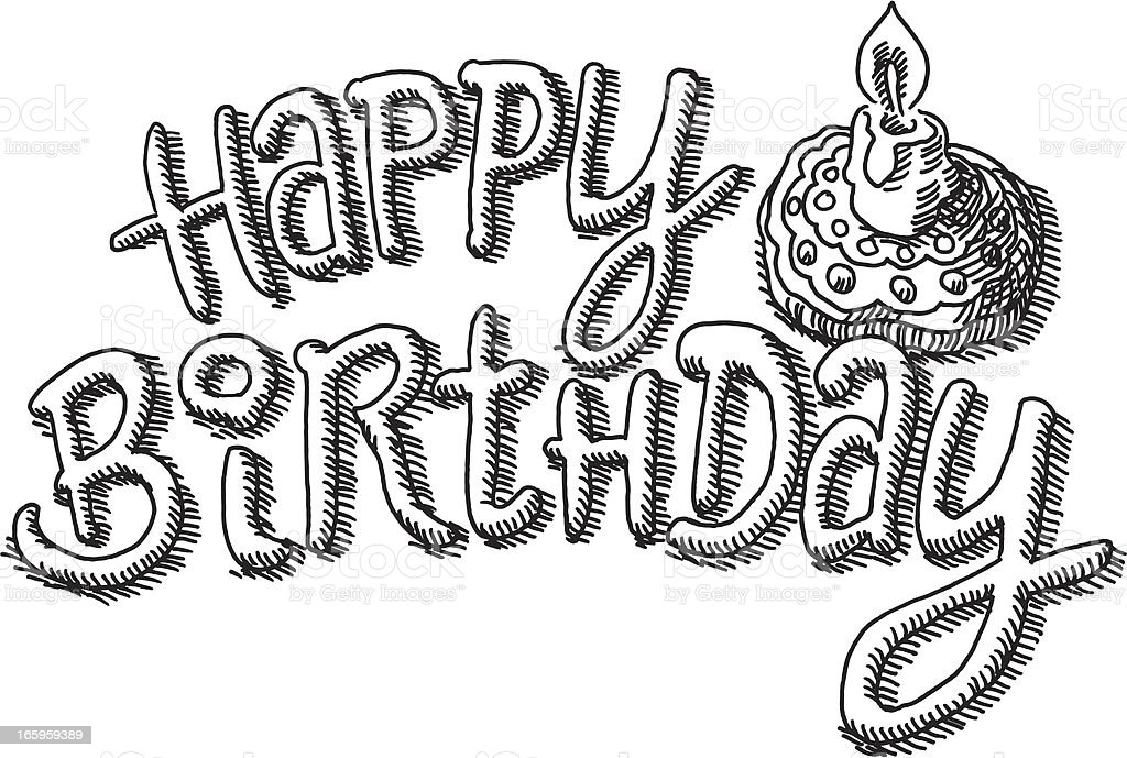 Happy Birthday Writing Candle Drawing vector art illustration