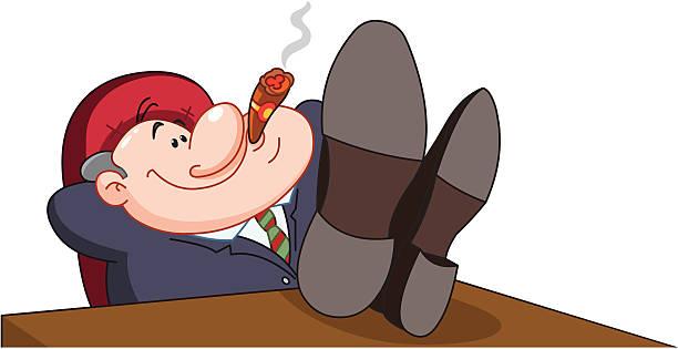 happy boss - old man smoking cigar stock illustrations, clip art, cartoons, & icons