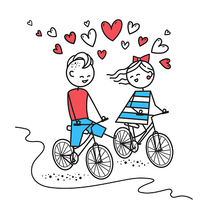 Happy boy and girl ride bikes and chat