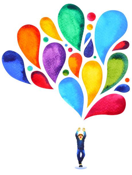 해피 소년 전원 마음 다채로운 풍선 색 수채화 그림 그림 손으로 그린 - mindfulness stock illustrations