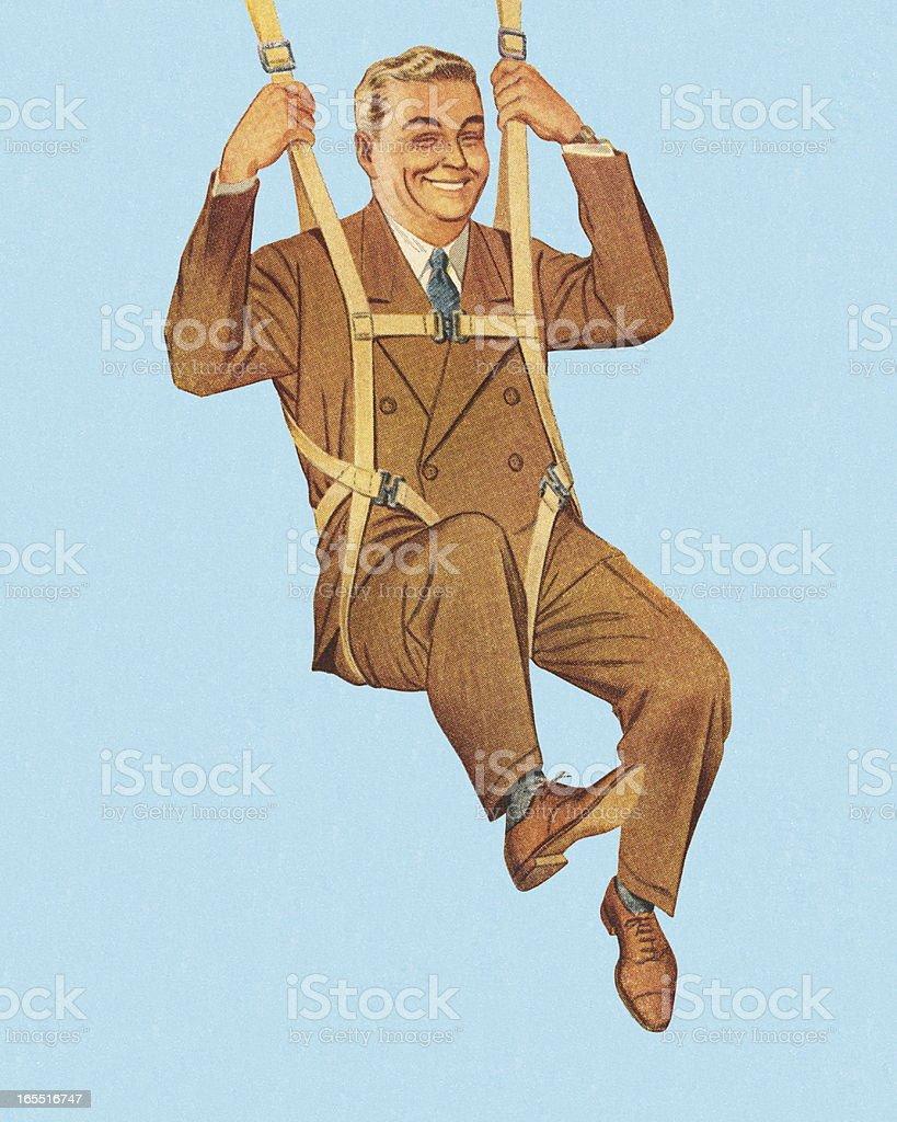Happy Businessman Skydiving vector art illustration