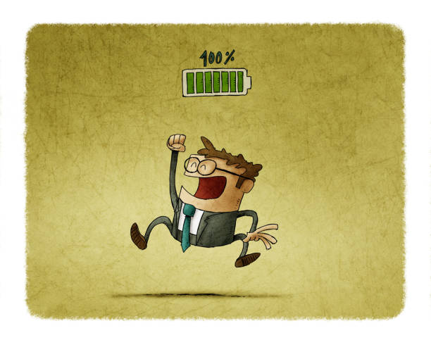 A happy businessman with raised hands because his battery is fully charged. Living energy. Power for change. Strength for success. - Illustration vector art illustration