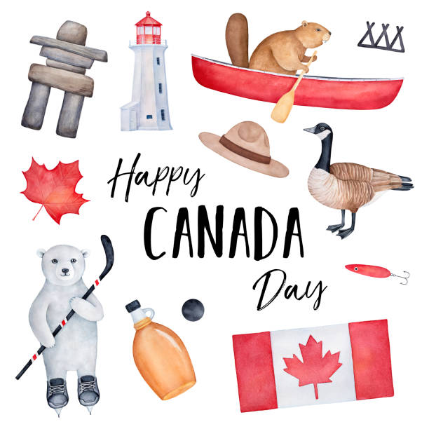 """happy canada day"" greeting card design with national flag, various country symbols, positive animal characters and holiday message. handdrawn watercolour graphic painting on white, square shape. - canada day stock illustrations"