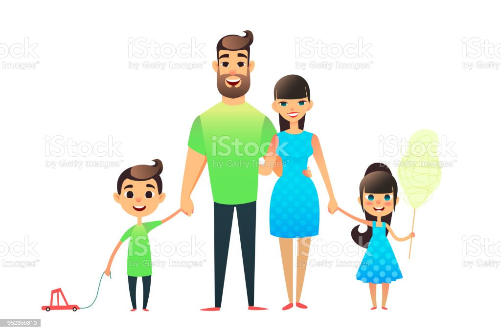 Papa und Tochter Cartoon