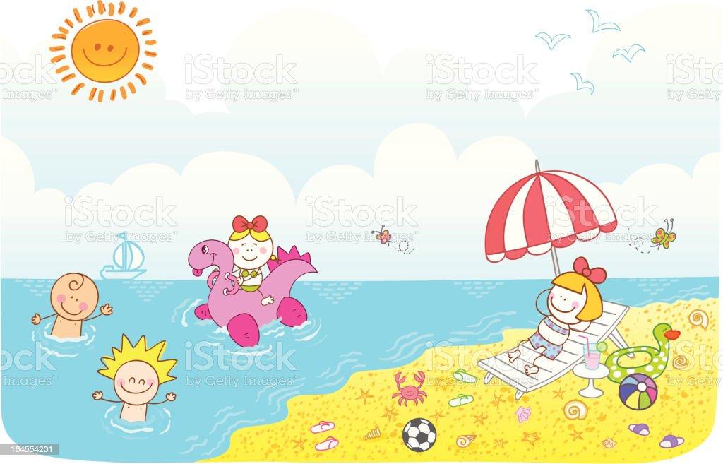 Happy Children Friends Having Fun At Summer Beach Cartoon ...