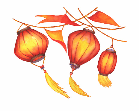Happy Chinese lunar new year, red paper oriental lanterns. Watercolor hand drawn painting illustration isolated on white background.