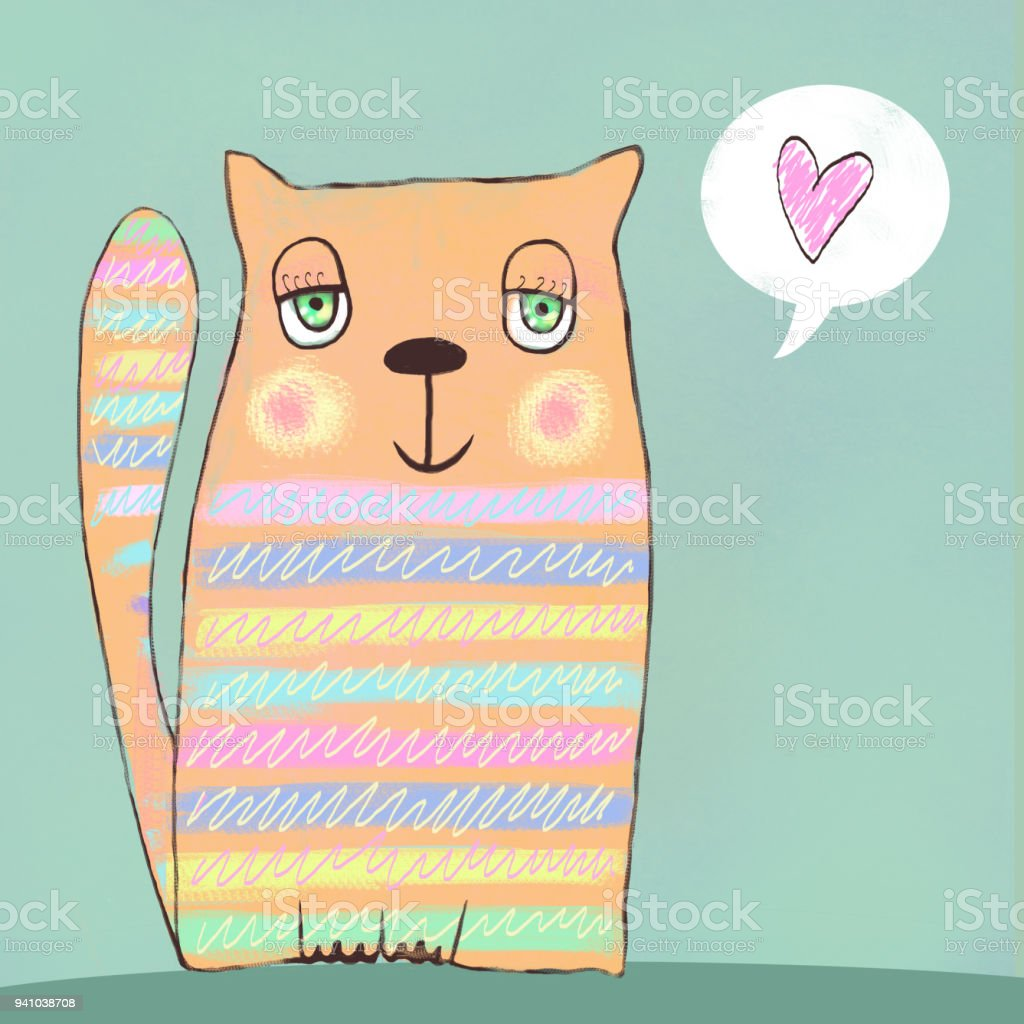 Happy colorful cat cat in love love background i love you meeting happy colorful cat cat in love love background i love you meeting stopboris Image collections