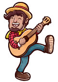 Happy countryman playing acoustic guitar and dance walking