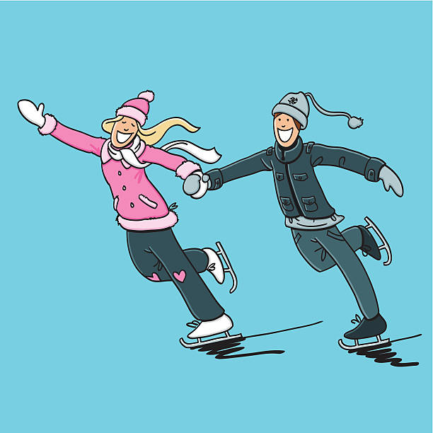 "Happy Couple Ice Skating ""Sketchy vector illustration of a happy Couple doing Ice Skating. Line art, color and background are on separate layers, so you also can use the illustration on your own background. The colors in the .eps-file are ready for print (CMYK). Included files: EPS (v8) and Hi-Res JPG."" doodle NOT black and white stock illustrations"