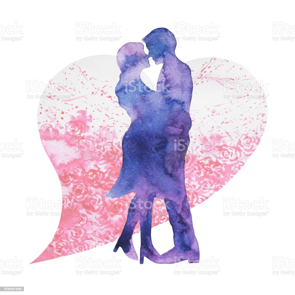 amant heureux couple, baisers, bonheur de carte ou de l'engagement, s'engager, Saint Valentin, mariage, conception illustration aquarelle - Illustration vectorielle