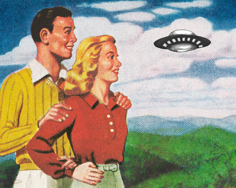 Happy Couple Watching a UFO