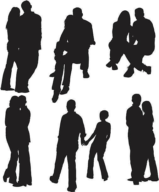 stockillustraties, clipart, cartoons en iconen met happy couples together - kussen met de mond