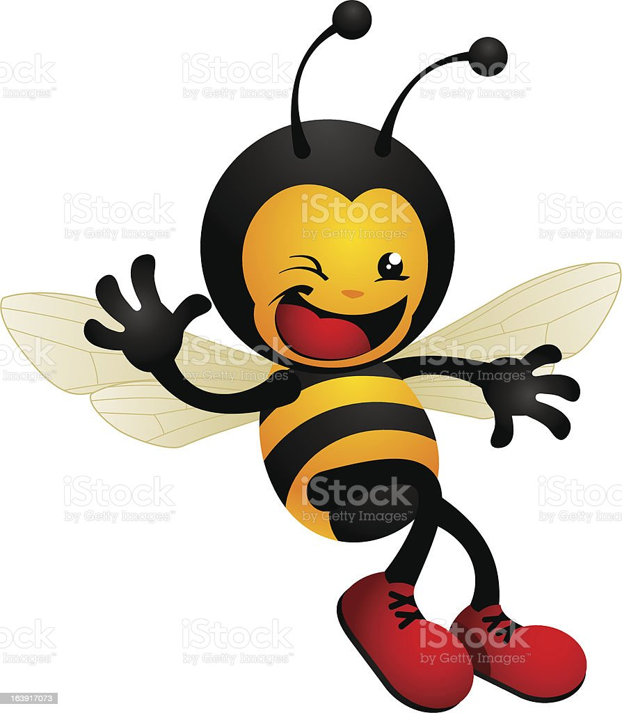 Happy cute waving bumble bee vector art illustration