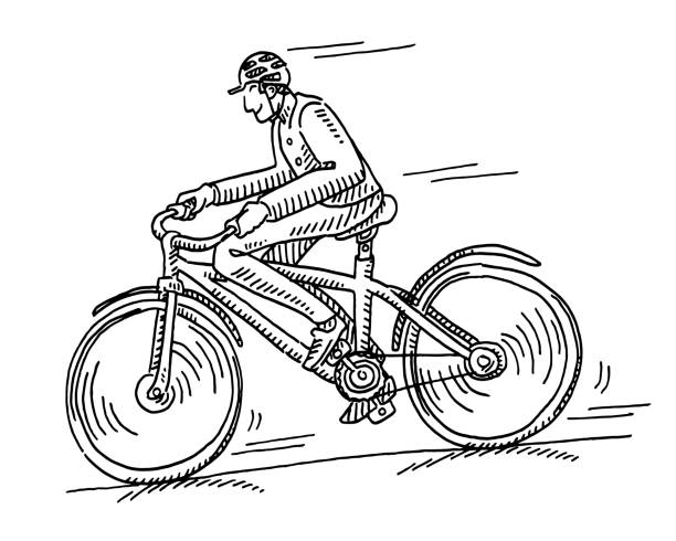 Happy Cyclist Drawing Hand-drawn vector drawing of a Happy Cyclist. Black-and-White sketch on a transparent background (.eps-file). Included files are EPS (v10) and Hi-Res JPG. cycling stock illustrations