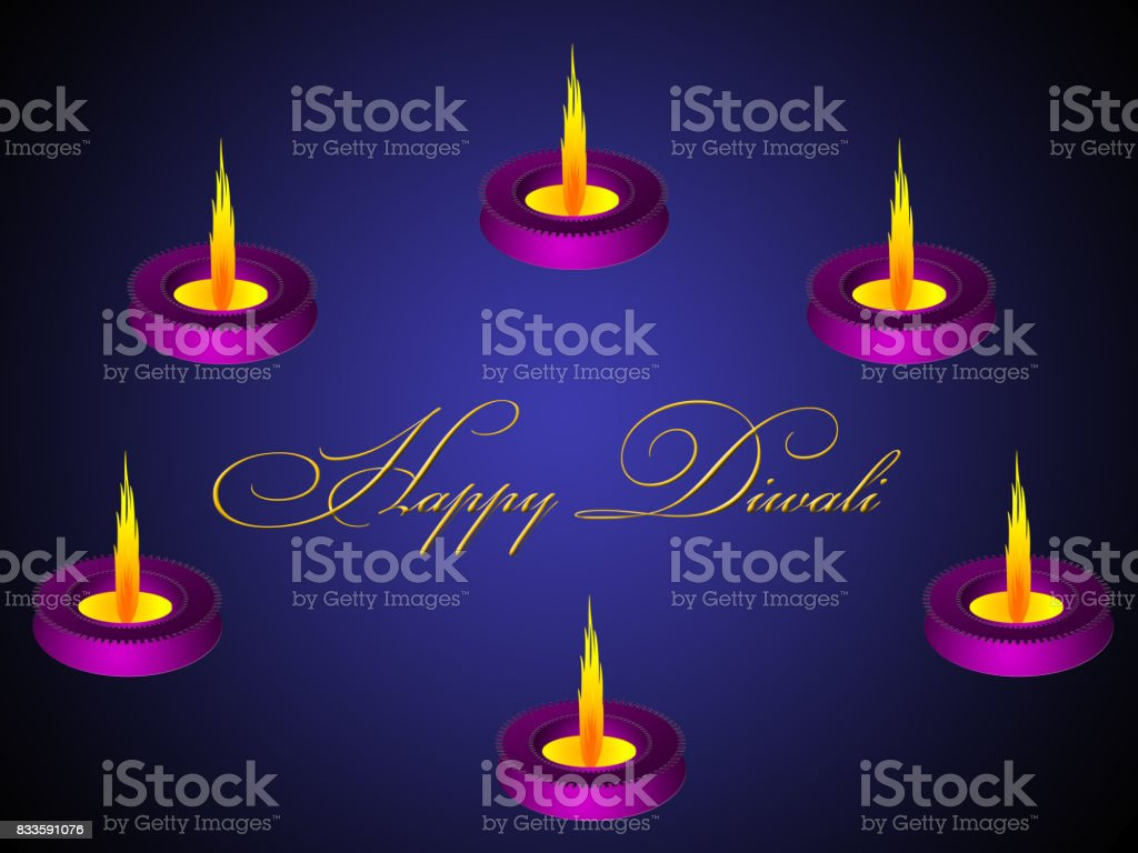 Happy Diwali Greetings Illustration With A Lighted Diya Stock Vector
