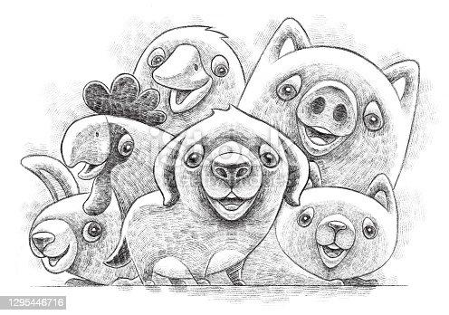 istock happy domestic animals gathering sketch 1295446716