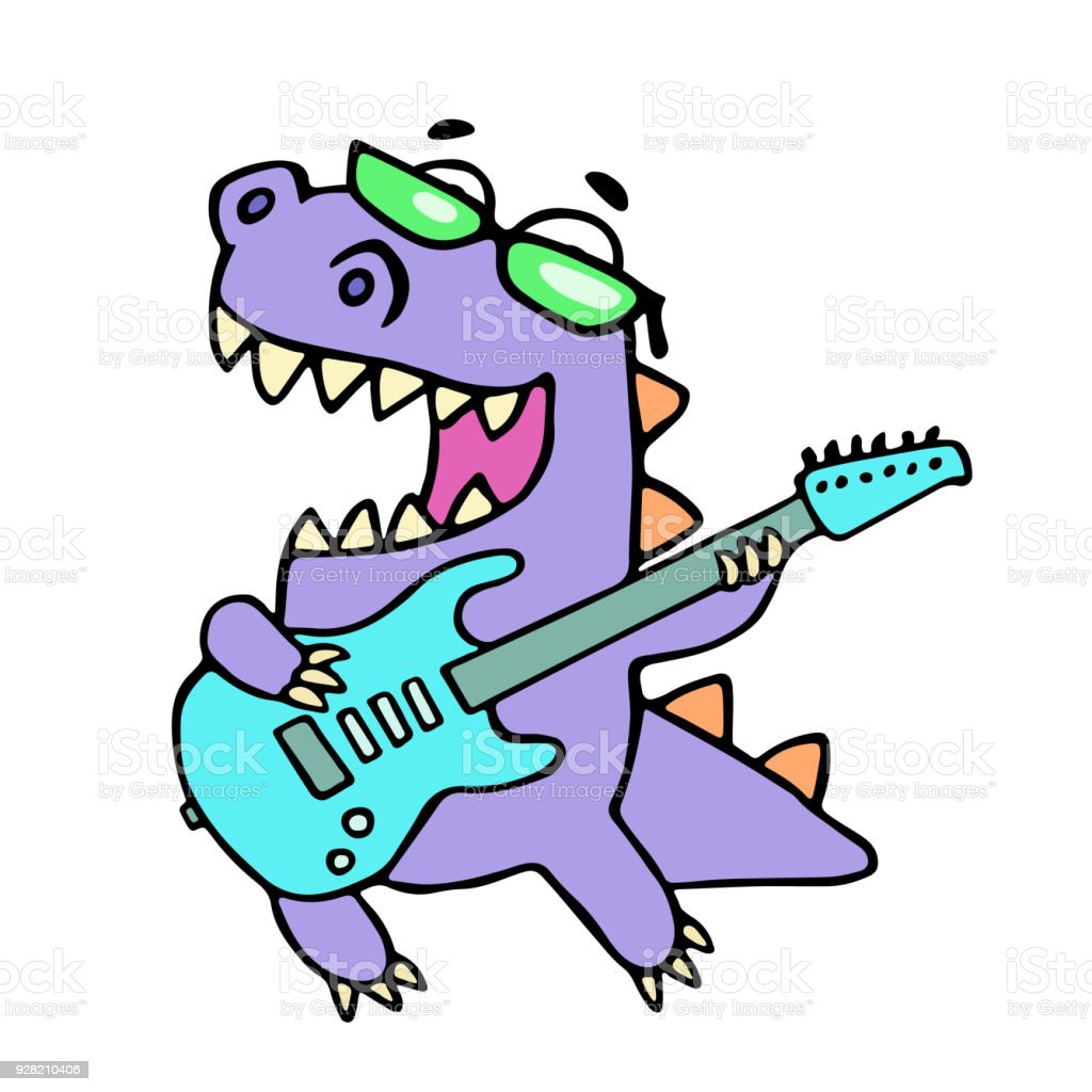 Happy Dragon Playing The Electric Guitar Royalty Free Stock