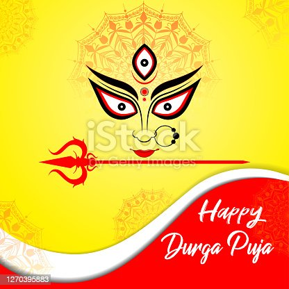 istock Happy Durga Puja vector illustration background with goddess Durga eyes and trishul. 1270395883