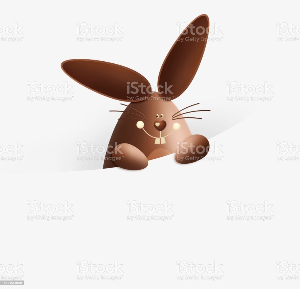 Happy easter chocolate funny bunny showing the sign isolated on happy easter chocolate funny bunny showing the sign isolated on white background gift card negle Images