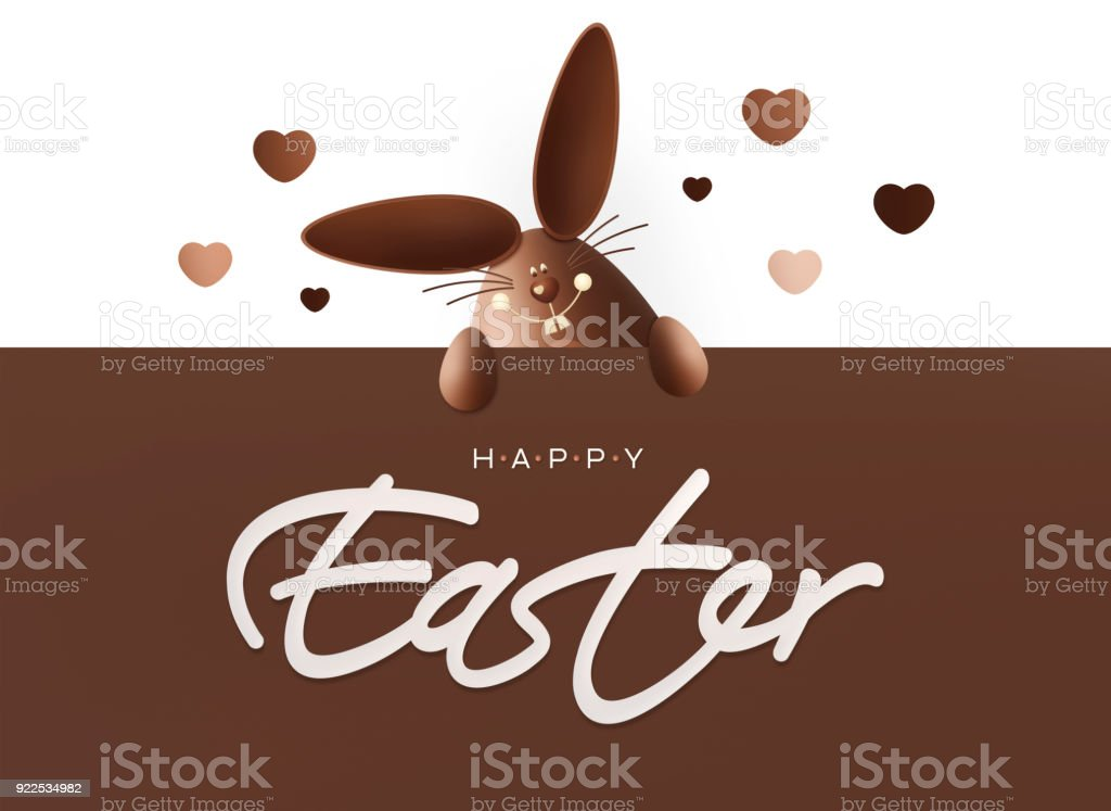 Happy easter chocolate funny bunny showing the sign with text on happy easter chocolate funny bunny showing the sign with text on white background gift negle Choice Image