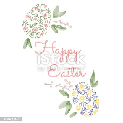 istock Happy Easter. illustrations of watercolor cute bunny, chick, flowers, plants and greeting frame. Pictures for poster, invitation, postcard or background 1303753077