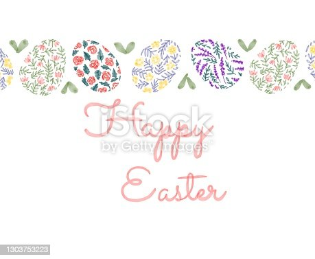 istock Happy Easter. illustrations of watercolor cute bunny, chick, flowers, plants and greeting frame. Pictures for poster, invitation, postcard or background 1303753223