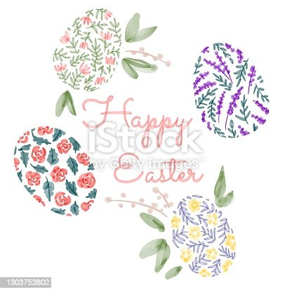 istock Happy Easter. illustrations of watercolor cute bunny, chick, flowers, plants and greeting frame. Pictures for poster, invitation, postcard or background 1303753802