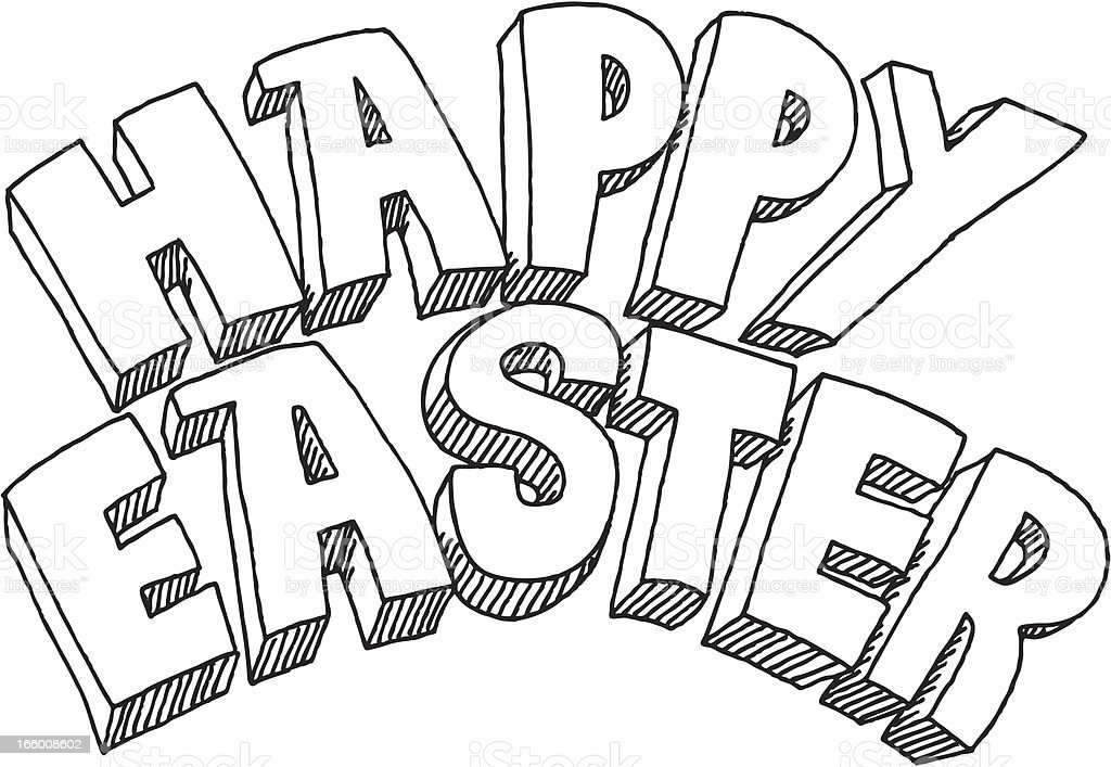 Happy Easter Text Drawing royalty-free stock vector art