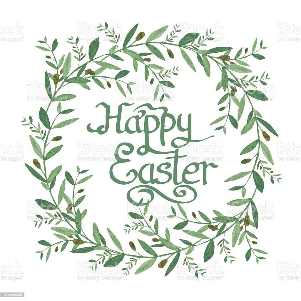 Happy Easter Text Inside Watercolor Olive Wreath stock ...