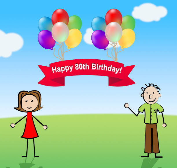 Top 60 80th Birthday Clip Art Vector Graphics And Illustrations