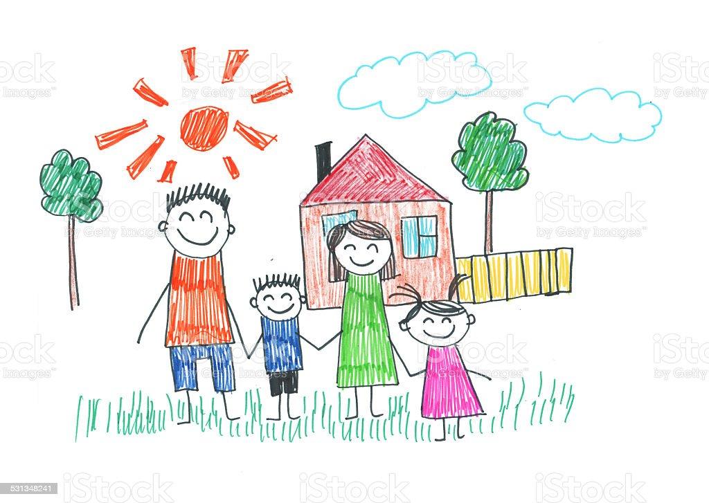 Happy family vector art illustration