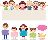 """A Happy Family hold banner,vector illustration"""