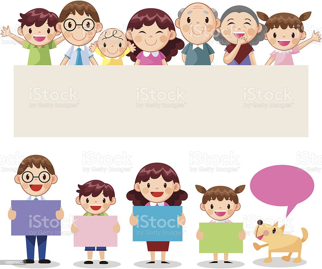 Happy Family with banner vector art illustration