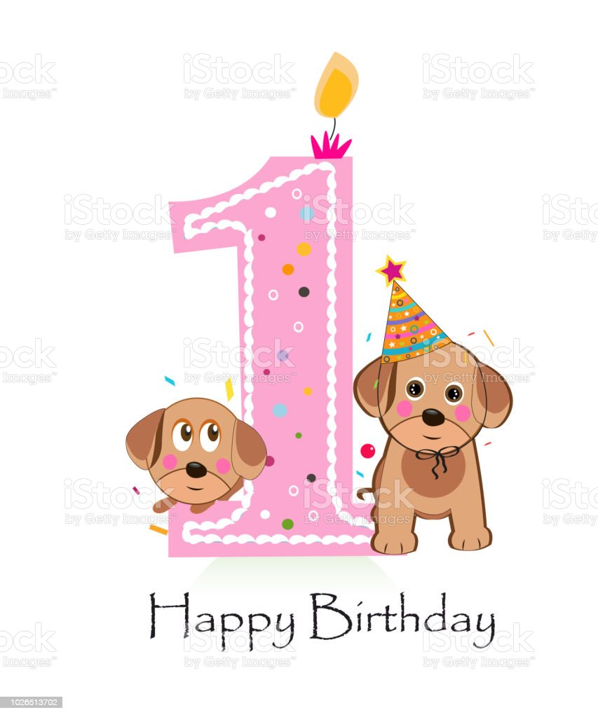 Happy First Birthday With Cute Dogs Baby Girl Greeting Card Stock Illustration Download Image Now Istock