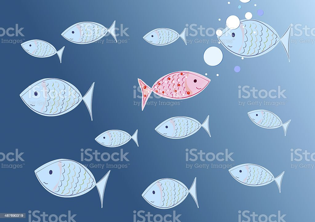 happy fish - concept individuality vector art illustration