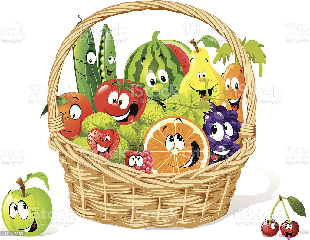 happy fruit and vegetable cartoon in basket stock vector