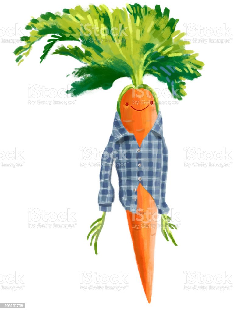 Happy Funny Vegetable Carrot vector art illustration