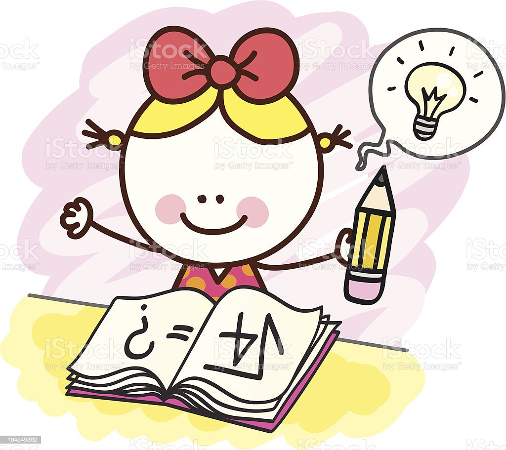 happy girl student working maths  homework, exam royalty-free happy girl student working maths homework exam stock vector art & more images of back to school